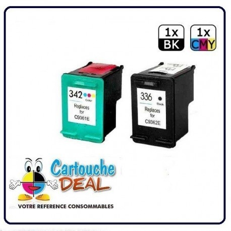 HP 336 / HP 342 - HP Deskjet 5400 Series 5440 5440 PSC 1500 1510 1510S 1513 1545 3180 Lot 2 cartouches compatible HP336 HP342