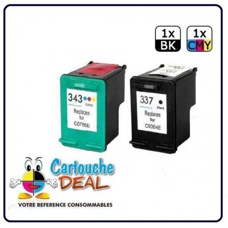 HP 337 / HP 343 - HP OfficeJet 6310 6315 PSC 4180 Photosmart C4100 C4180 C4190 Lot 2 cartouches compatible HP337 HP343
