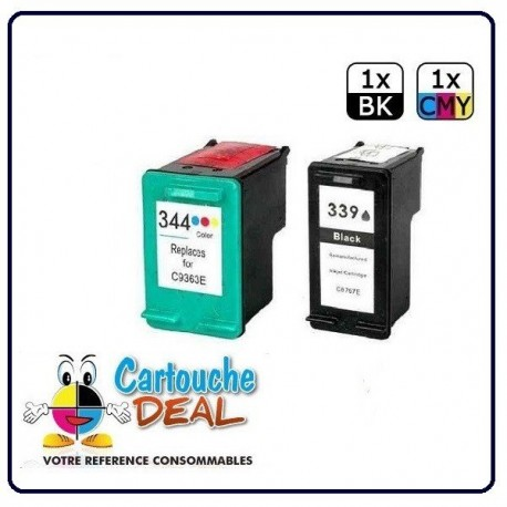 HP 339 HP 344 - Deskjet 3200 5700 5740 5745 5900 5940 6520 6540 6620 6840 6940 6980 9800 Lot 2 cartouches compatible HP339 HP344
