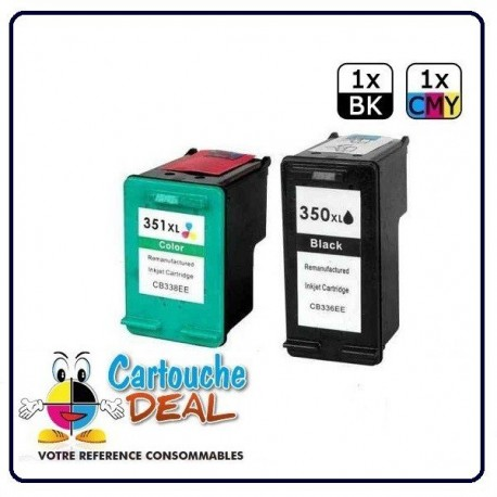 HP 350XL HP 351XL - Deskjet D4260 D4263 D4360 Officejet J6400 J6405 J6450 J6480 J6488 Lot 2 cartouches compatible HP350 HP351 XL