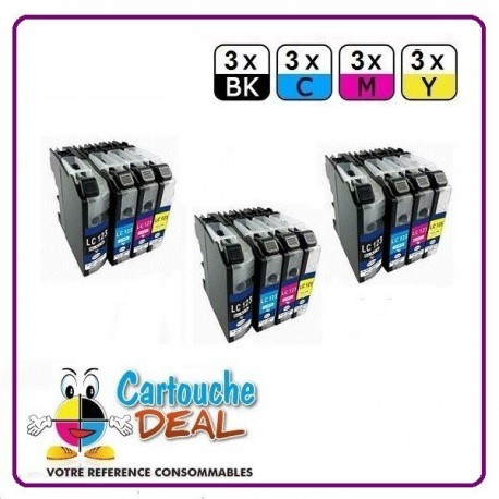 BROTHER LC-123 - Lot 12 cartouches compatible pour DCP J132W J152W J172W J552DW J752DW MFC J245 J470DW J650DW J870DW LC123