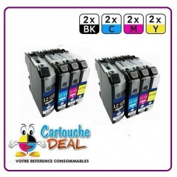 BROTHER LC-123 - Lot 8 cartouches compatible pour DCP J132W J152W J172W J552DW J752DW MFC J245 J470DW J650DW J870DW LC123