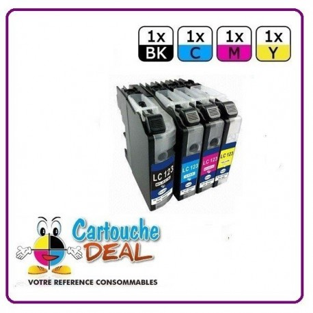 BROTHER LC-123 - Lot 4 cartouches compatible pour DCP J132W J152W J172W J552DW J752DW MFC J245 J470DW J650DW J870DW LC123