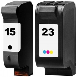 LOT DE 2 CARTOUCHES COMPATIBLE HP 15 HP 23 GRANDE CAPACITE HP15 HP23