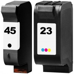 LOT DE 2 CARTOUCHES COMPATIBLE HP 45 HP 23 GRANDE CAPACITE HP45 HP23