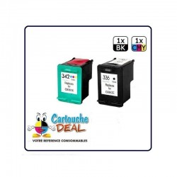 LOT DE 2 CARTOUCHES COMPATIBLE HP 336 HP 342 GRANDE CAPACITE HP336 HP342