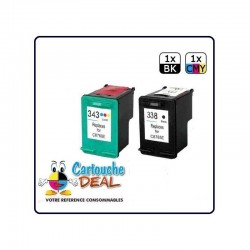 LOT DE 2 CARTOUCHES COMPATIBLE HP 338 HP 343 GRANDE CAPACITE HP338 HP343