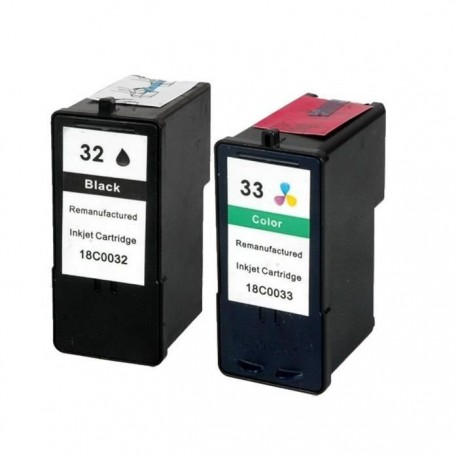 LOT DE 2 CARTOUCHES COMPATIBLE LEXMARK 32 & 33 GRANDE CAPACITE