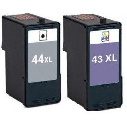 LOT DE 2 CARTOUCHES COMPATIBLE LEXMARK 43 & 44 XL GRANDE CAPACITE