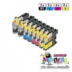 LOT DE 8 CARTOUCHES D'ENCRE GENERIQUE COMPATIBLE BROTHER LC-123 LC123