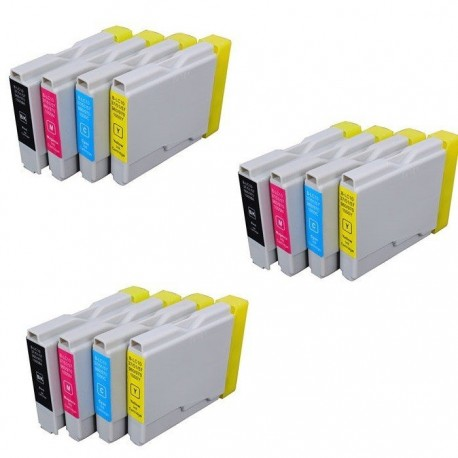 BROTHER LC-970/1000 - Lot 12 cartouches compatible DCP 535CN 540CN 560CN 680CN 750CW 770CW FAX 1055 1360 1460 1560 LC970 LC1000