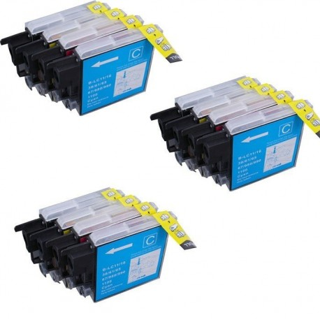 BROTHER LC980 LC1100 Lot 12 cartouches compatible DCP 395cn 585CW 6690CW J715W