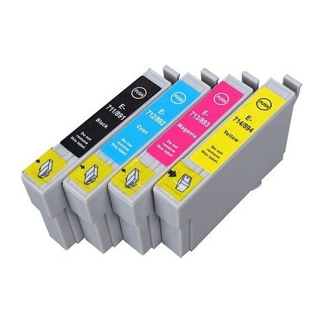 EPSON T0715 :Lot 4 cartouches compatible Stylus S20 S21 SX100 SX105 SX110 SX115 SX200 SX205 SX210 SX215 T0711 T0712 T0713 T0714