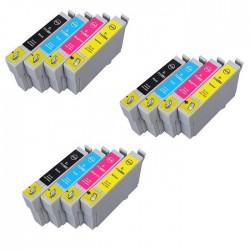 EPSON T0715 Lot 12 cartouches compatible Stylus DX7000F DX7250 DX7400 DX7450 DX8400 DX8450 DX9400F T0711 T0712 T0713 T0714