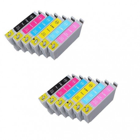 EPSON T0807 : Lot 12 cartouches compatible Stylus Photo P50 PX650 PX660 PX700 PX710 PX720 PX730 PX800 PX810 PX820 PX830