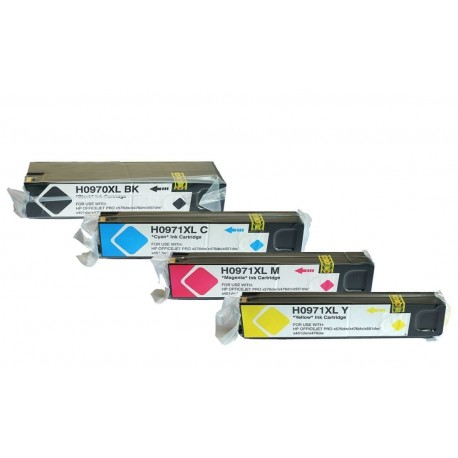 HP 970XL HP 971XL : Lot 4 cartouches compatible pour HP OfficeJet Pro X451 X476 X476dw X551 X551dw X576 X576dw - HP970 HP971 XL