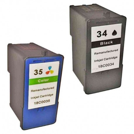 LEXMARK 34 XL / 35 XL : Lot 2 cartouches compatible LEXMARK X8300 Series X8310 X8350 X2500 X4500 X5400